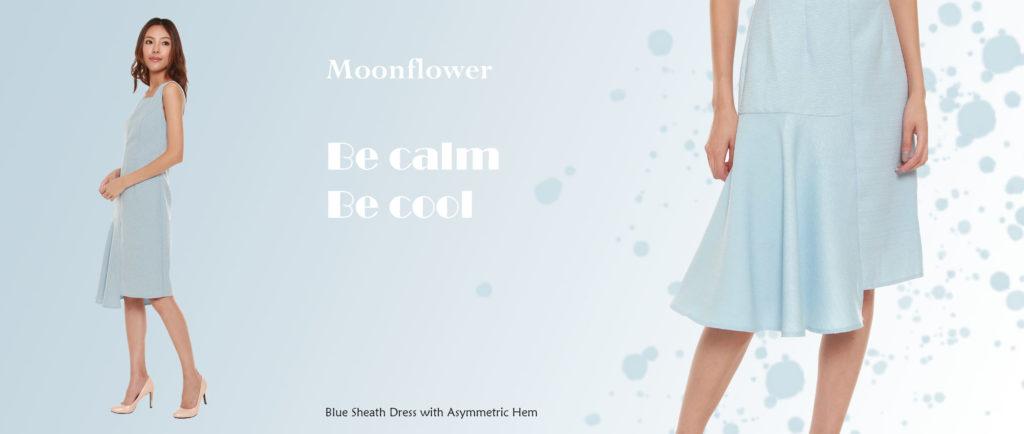Blue sheath dress with asymmetric hem