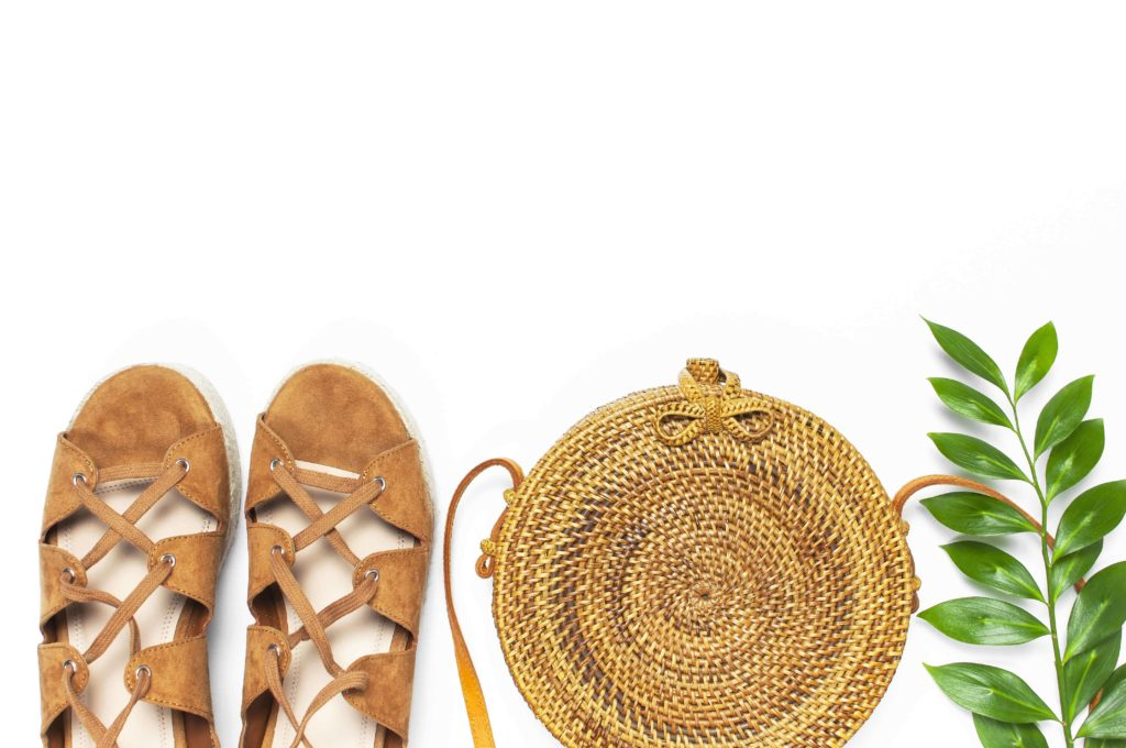 Sandals and rattan sling bag